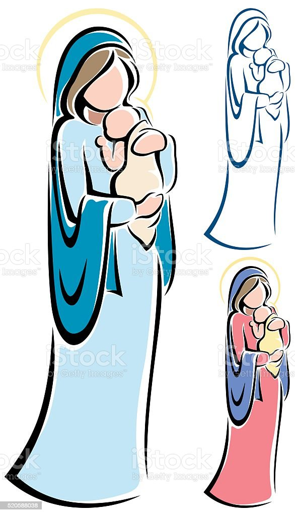 Virgin Mary and Baby Jesus vector art illustration