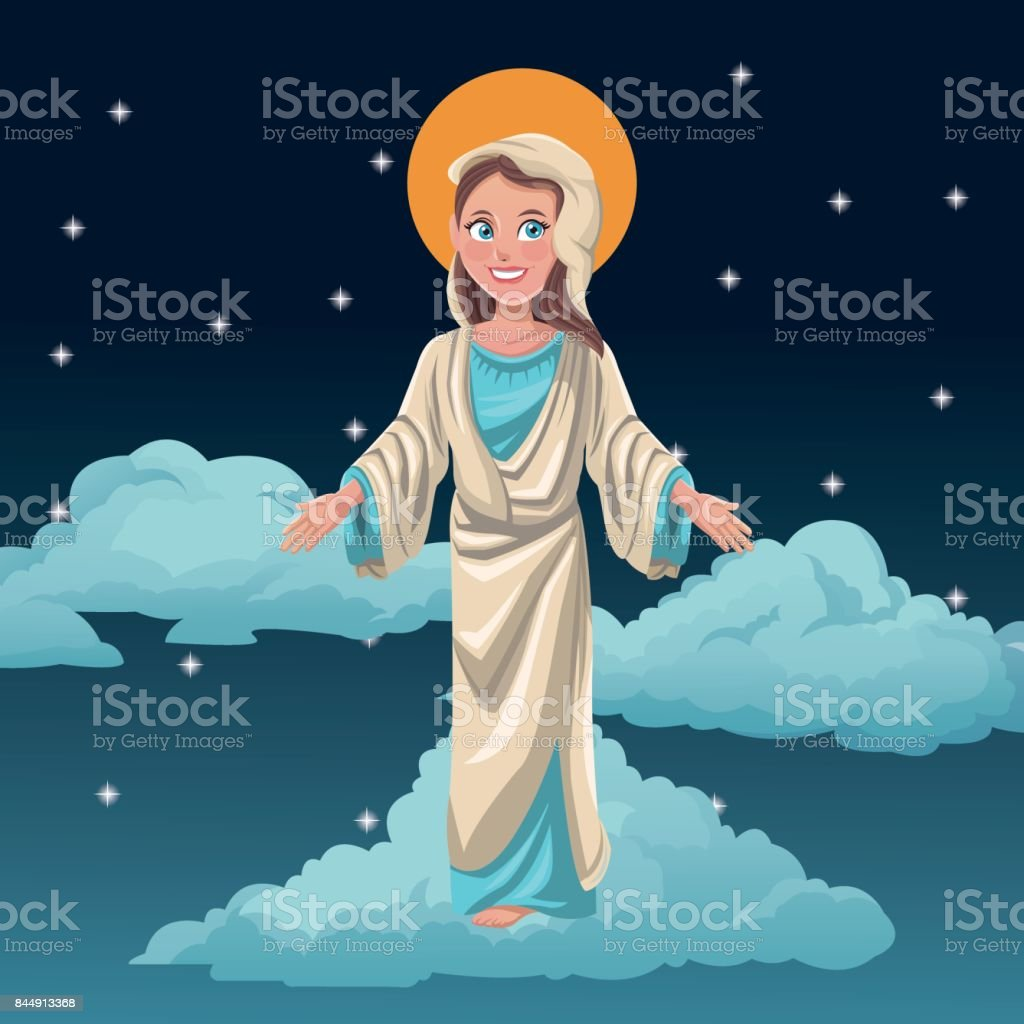 virgin mary blessed night background vector art illustration
