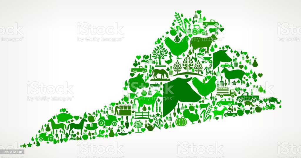 Virginia Farming and Agriculture Green Icon Pattern vector art illustration