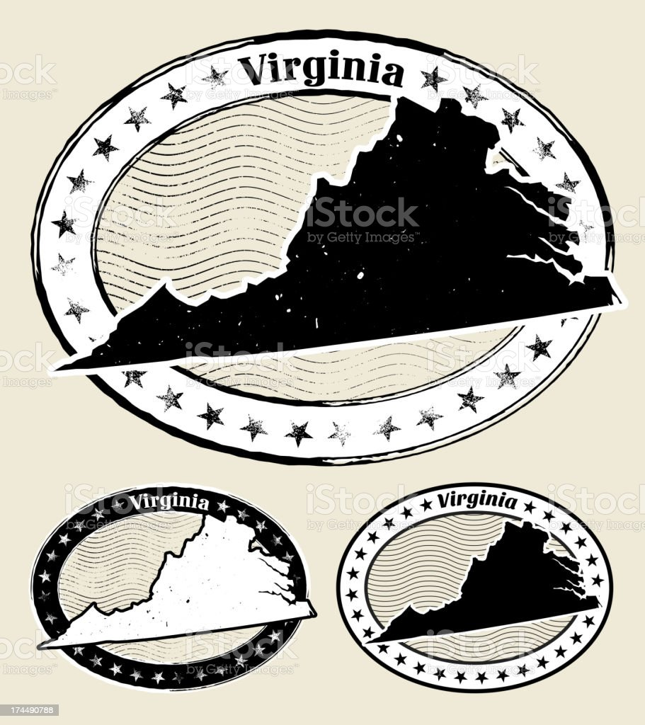 Virginia Grunge Map Black & White Stamp Collection vector art illustration