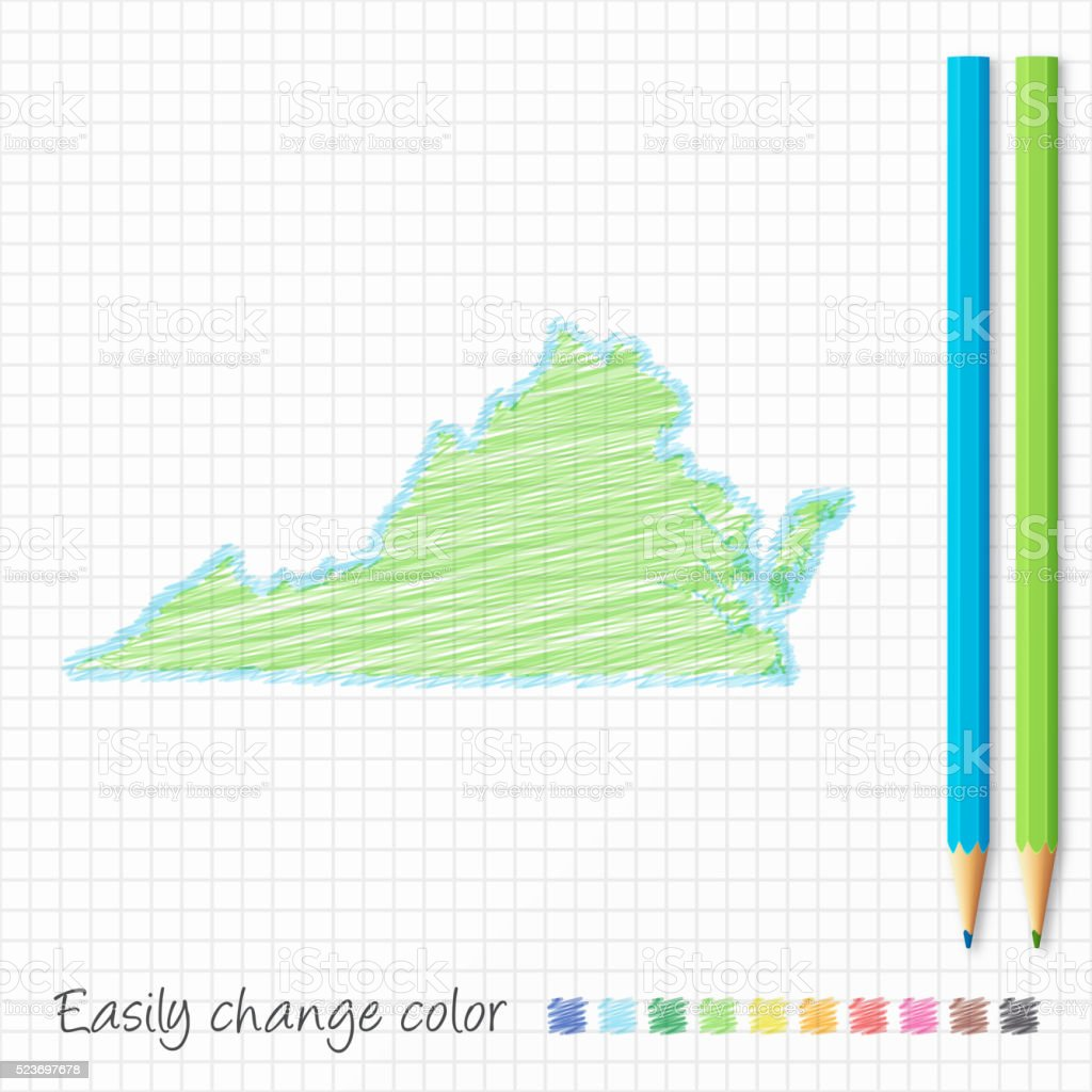 Virginia map sketch with color pencils, on grid paper vector art illustration