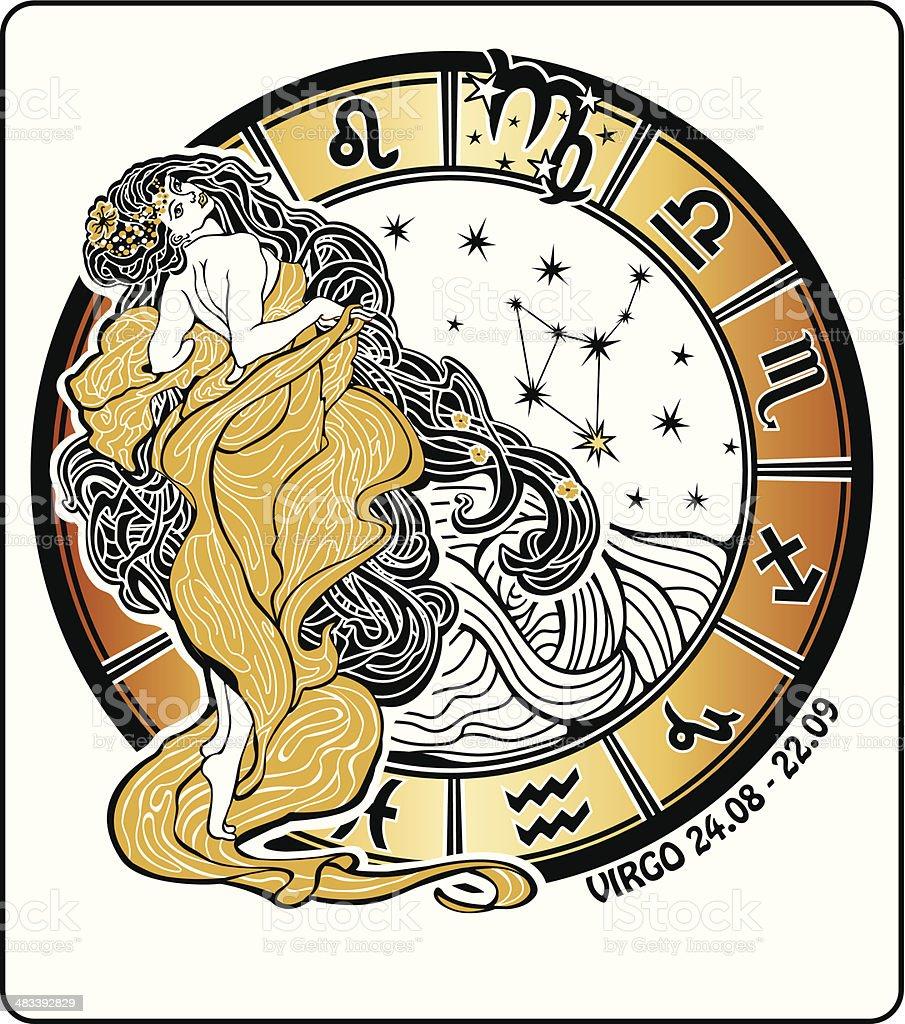 Virgo zodiac sign.Horoscope circle.Vector Illustration royalty-free stock vector art