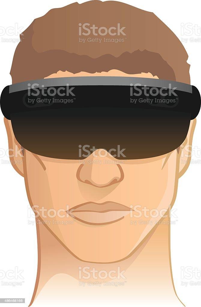 Virtual / augmented reality headset goggle vector illustration vector art illustration