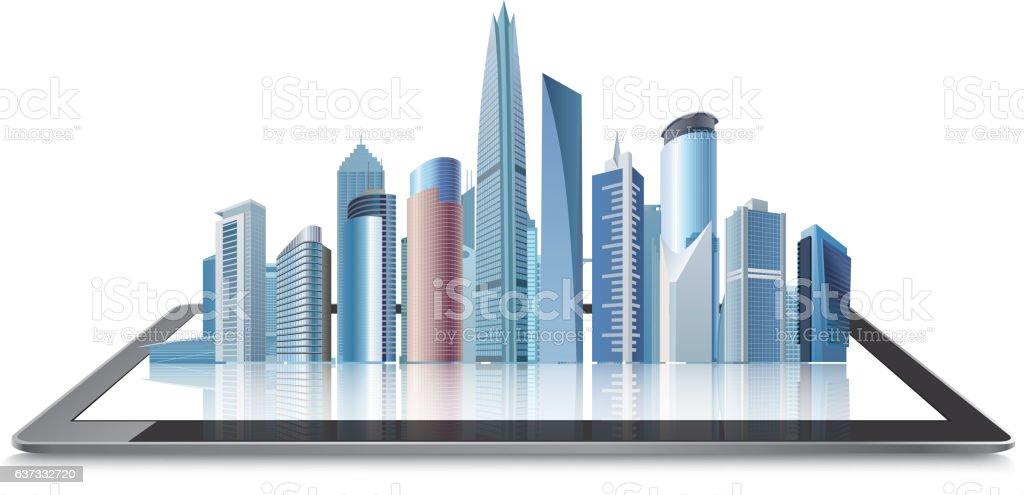 Virtual buildings on tablet vector art illustration