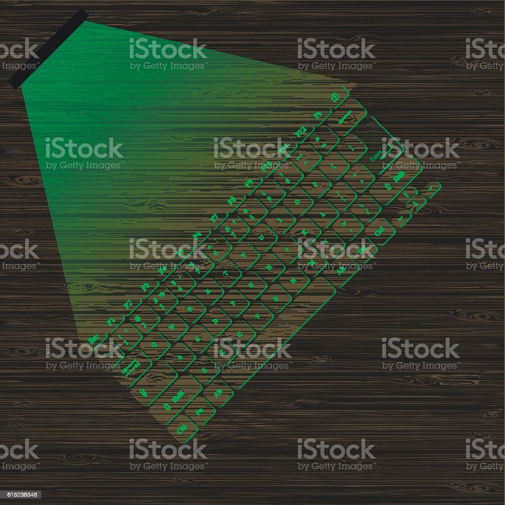 virtual laser keyboard with the projection on a wooden surface. vector art illustration