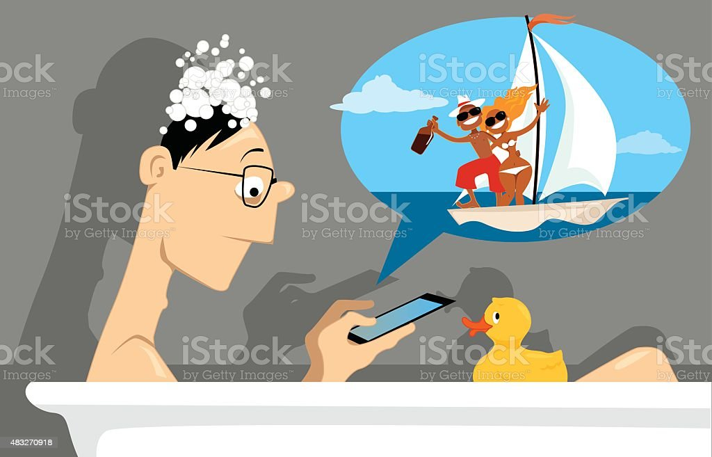 Virtual life vector art illustration