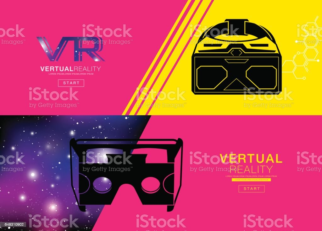 Virtual reality Banner, headset icon, flat design, vector, icon, design, colorful, VR vector art illustration