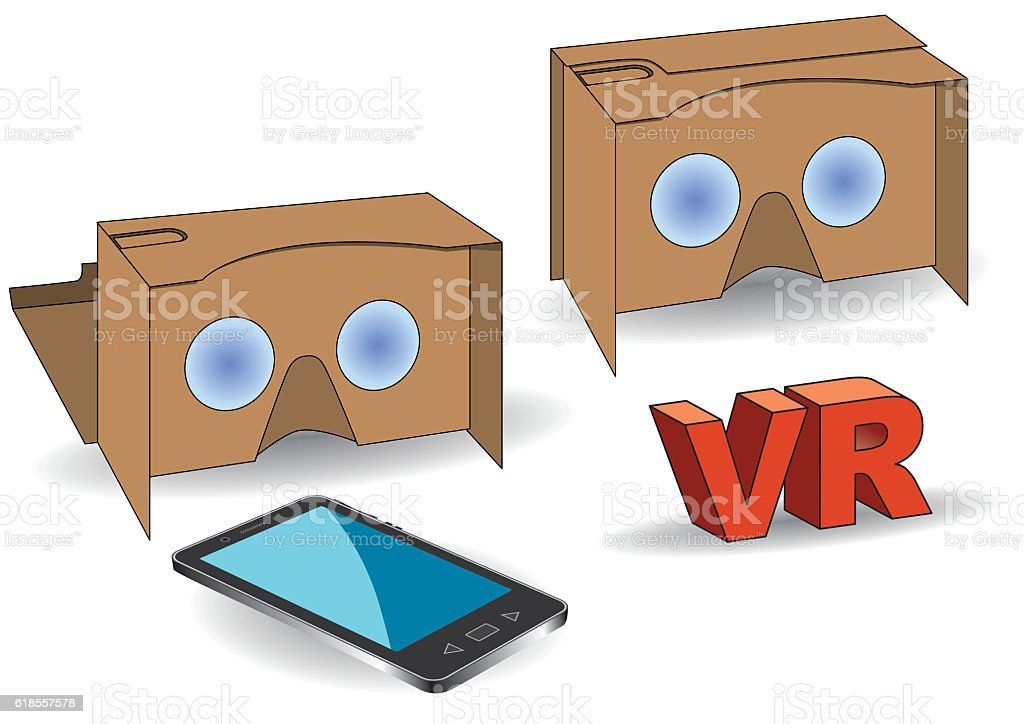 virtual reality cardboard glasses with mobile phone vector art illustration