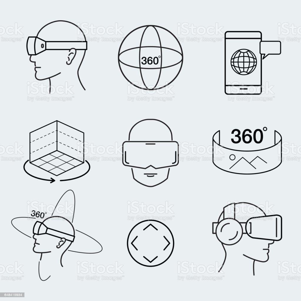 Virtual reality design set , VR, thin line icon, graphic, vector. vector art illustration