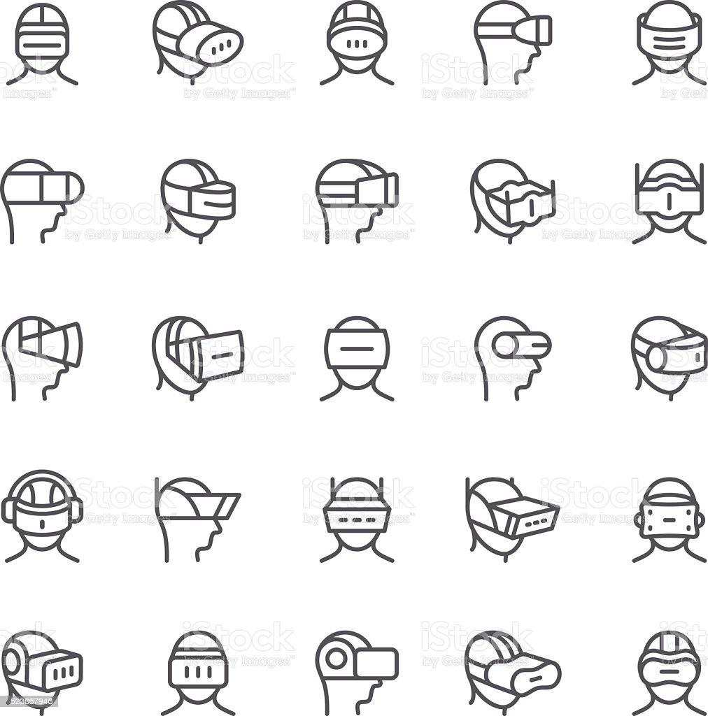 Virtual Reality device icons vector art illustration