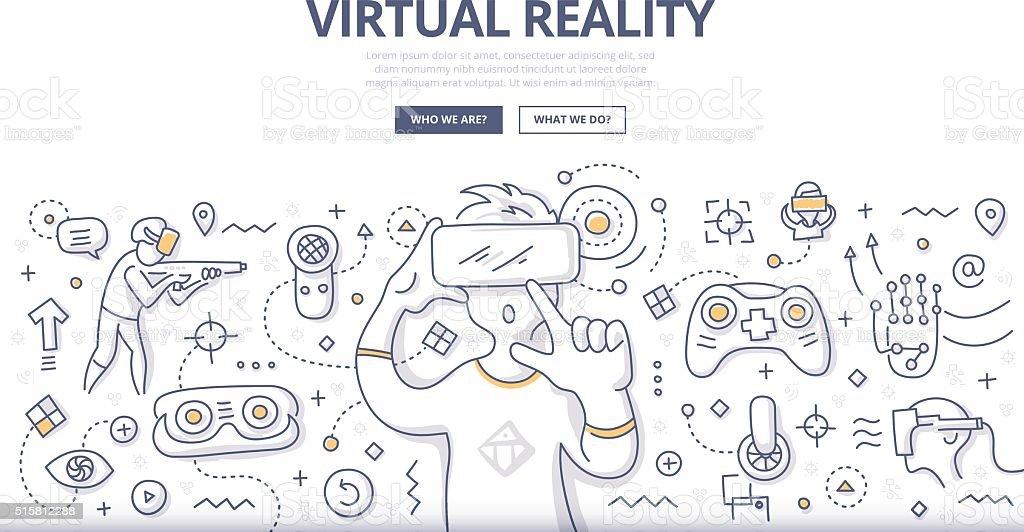 Virtual Reality Doodle Concept vector art illustration