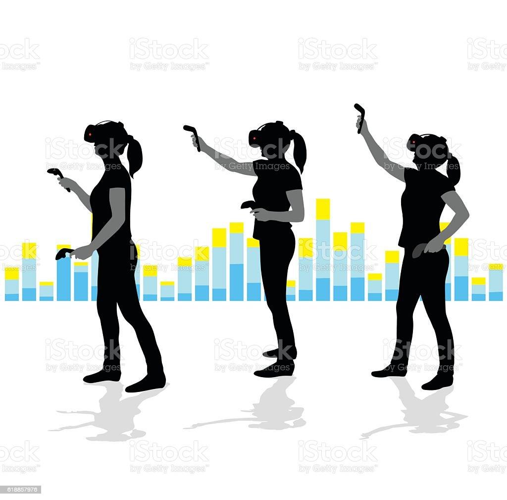 Virtual Reality Female User vector art illustration