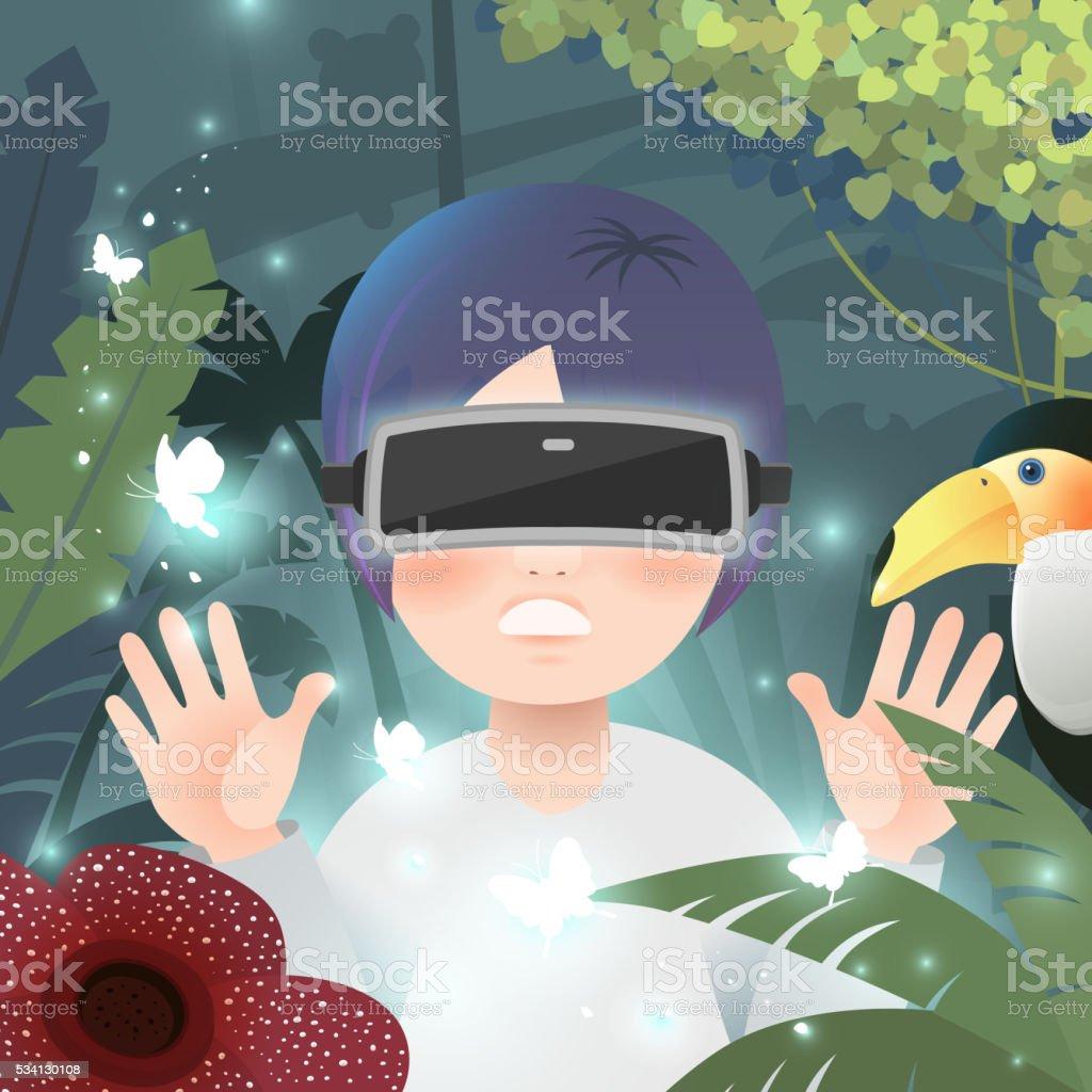 virtual reality flat design vector art illustration