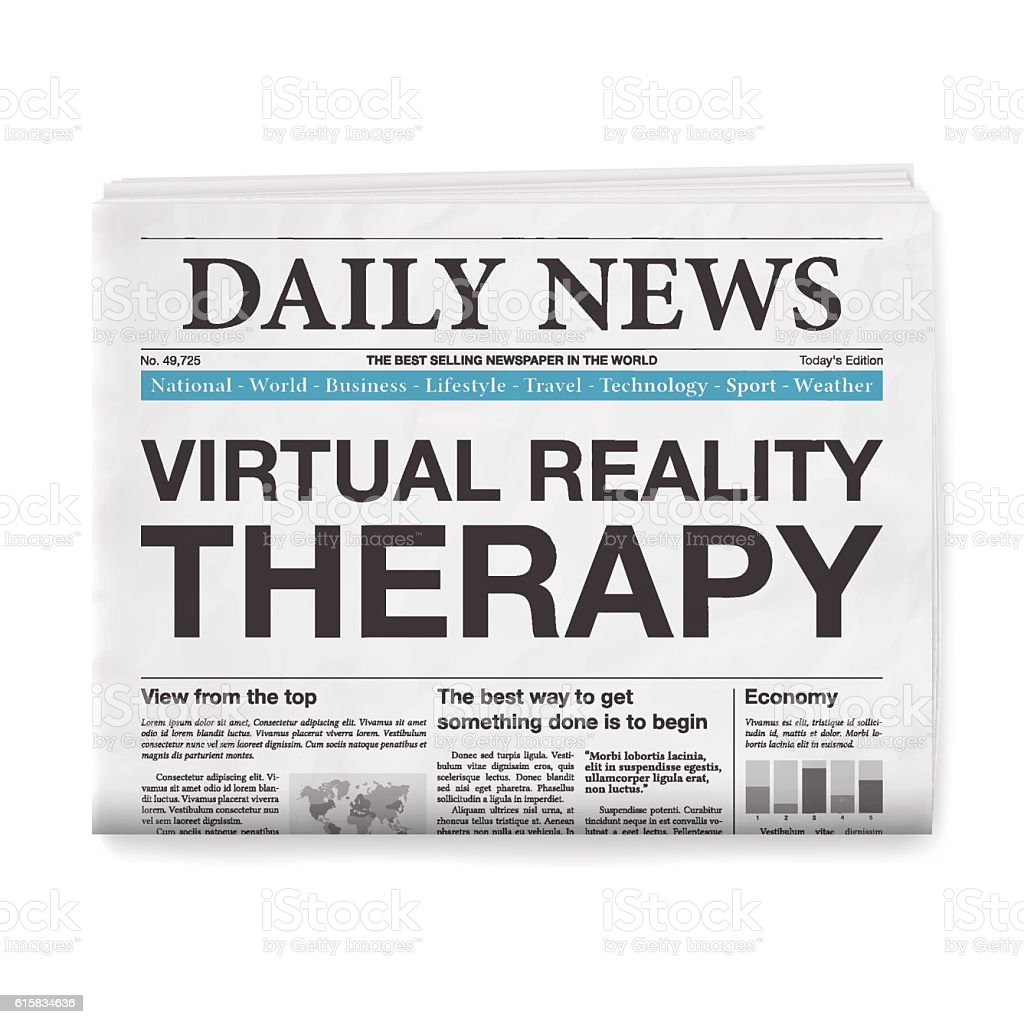 Virtual Reality for Therapy Headline. Newspaper isolated on White Background vector art illustration