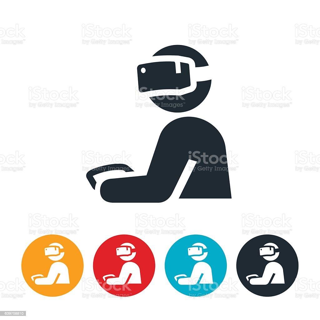 Virtual Reality Gamer Icon vector art illustration