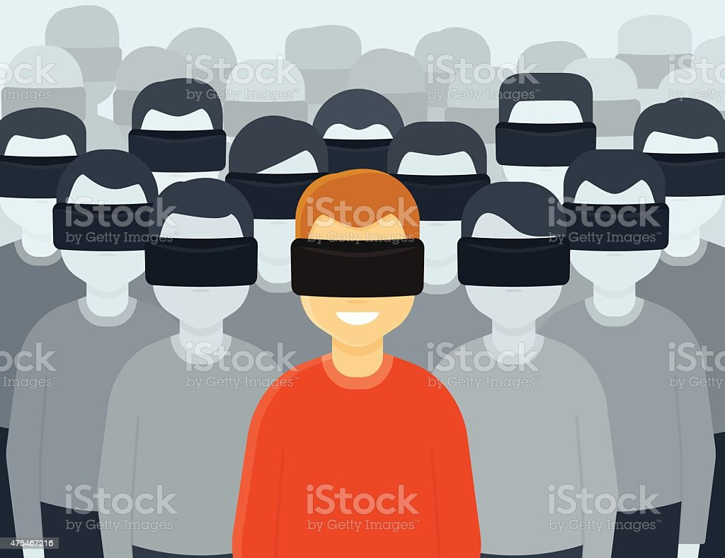 Virtual reality generation vector art illustration