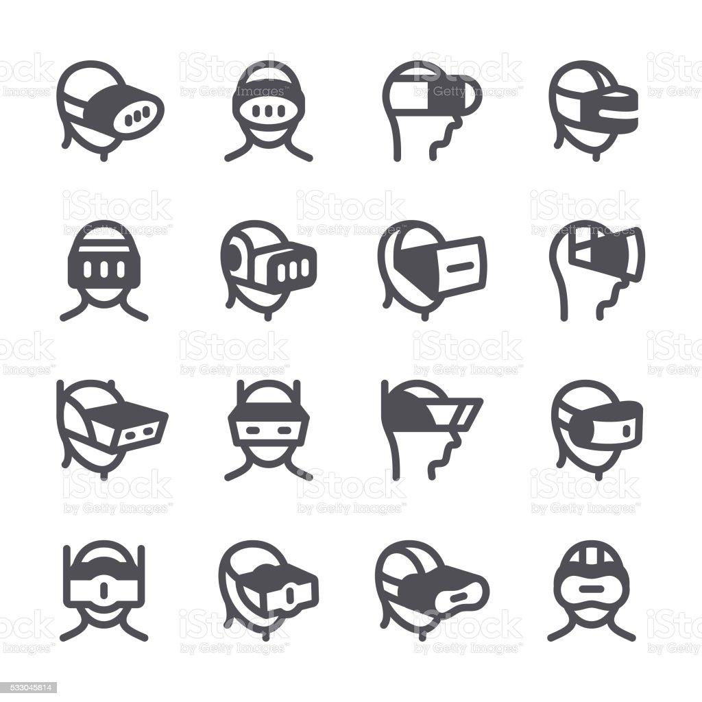 Virtual Reality headset  icons vector art illustration