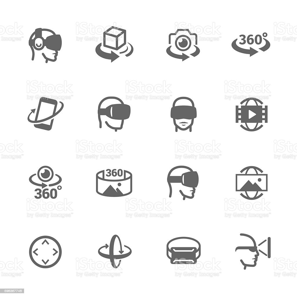 Virtual Reality Icons vector art illustration