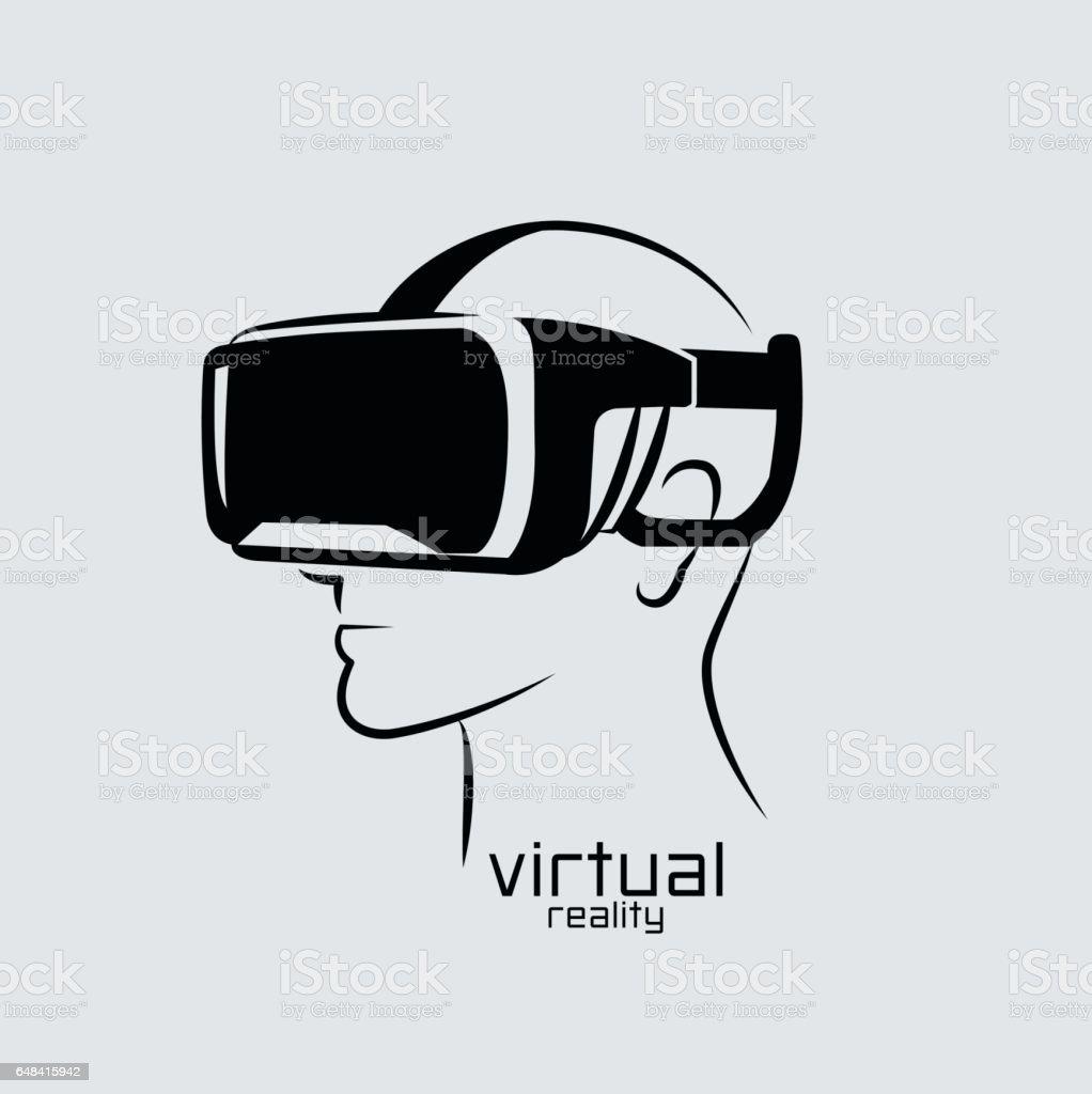 Virtual reality logo, flat design, vector, icon,  black & white, VR vector art illustration