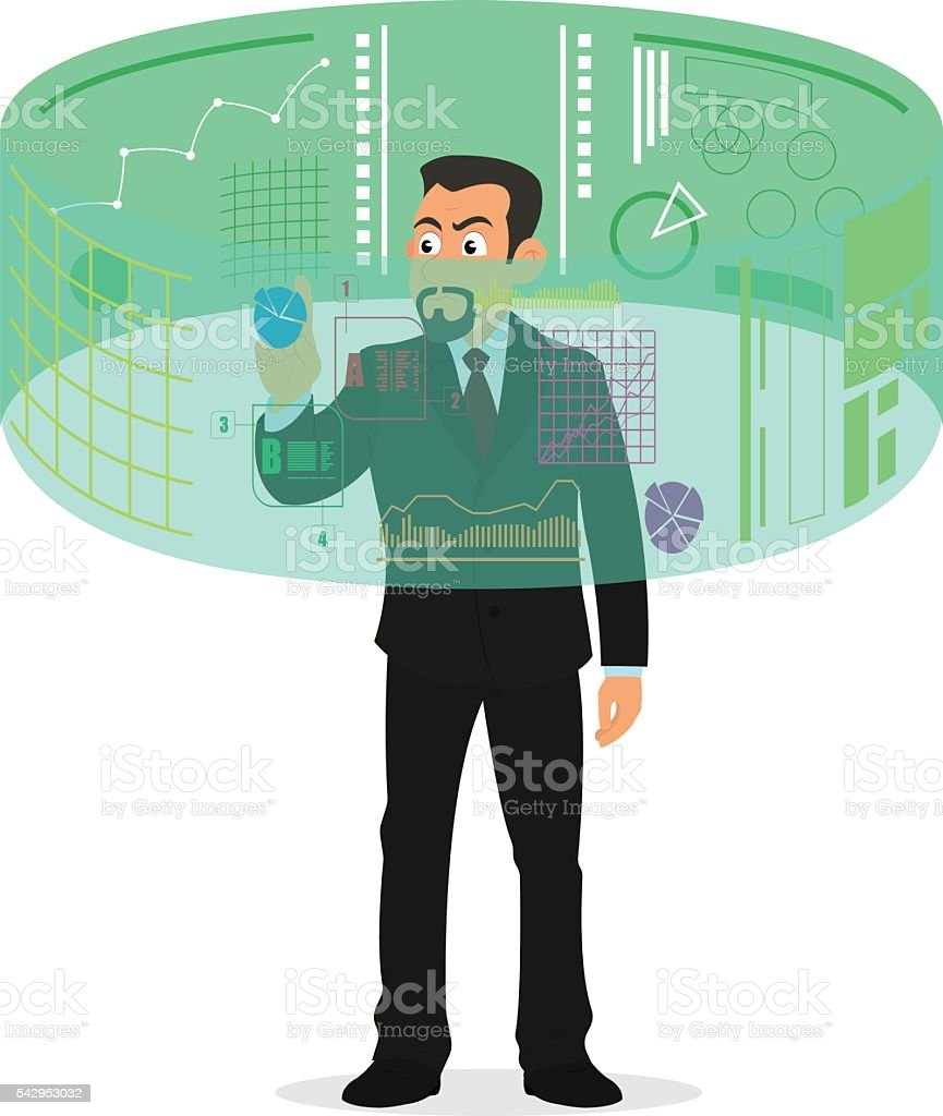 Virtual reality. Mobile and computer systems. vector art illustration