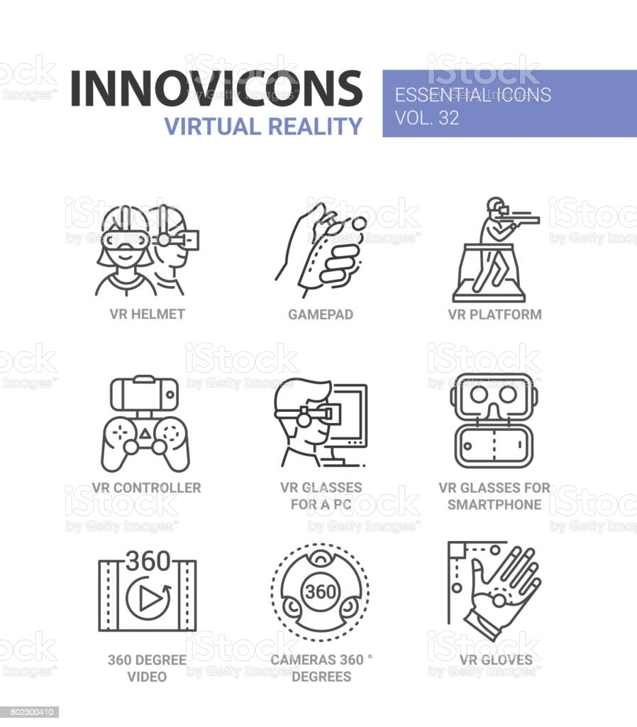 Virtual Reality - modern vector line icons set vector art illustration