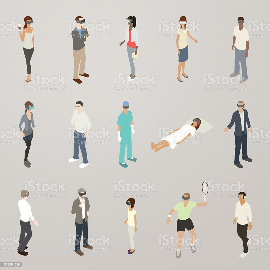 Virtual Reality People Illustration vector art illustration