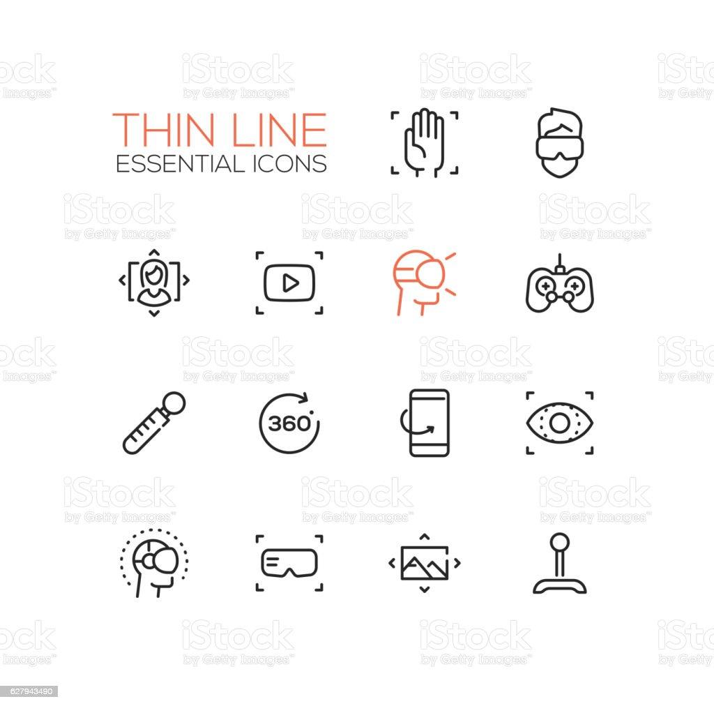 Virtual Reality - Thin Single Line Icons Set vector art illustration