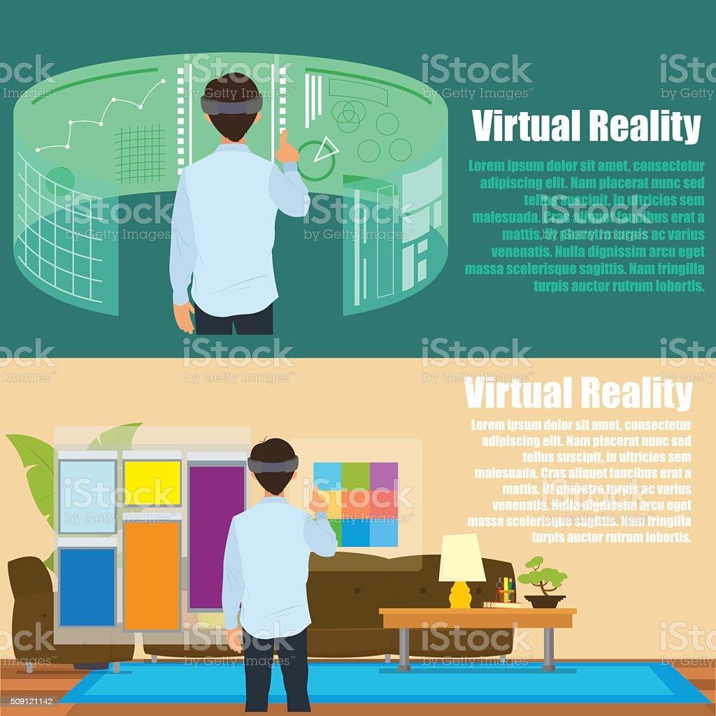 Virtual reality. vector art illustration