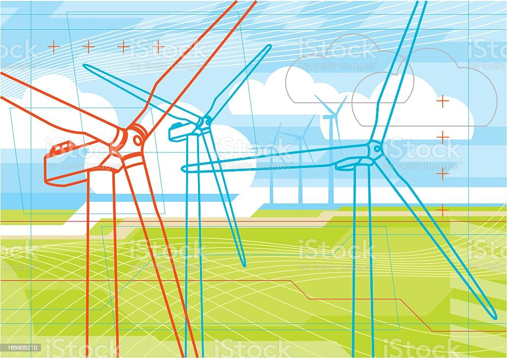 Virtual wind farm vector art illustration