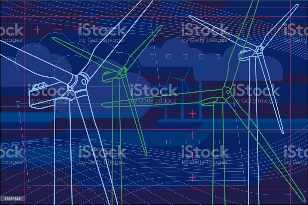 Virtual wind farm royalty-free stock vector art