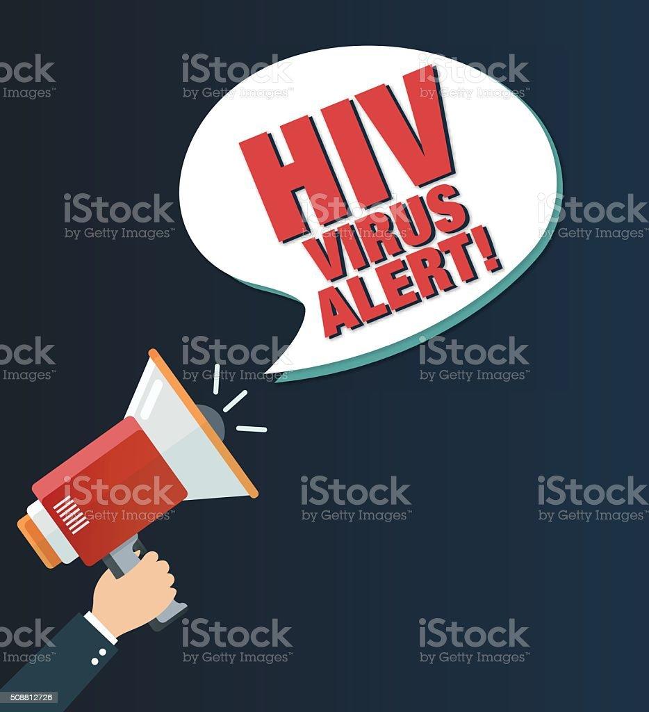 HIV Virus Alert! Megaphone vector art illustration