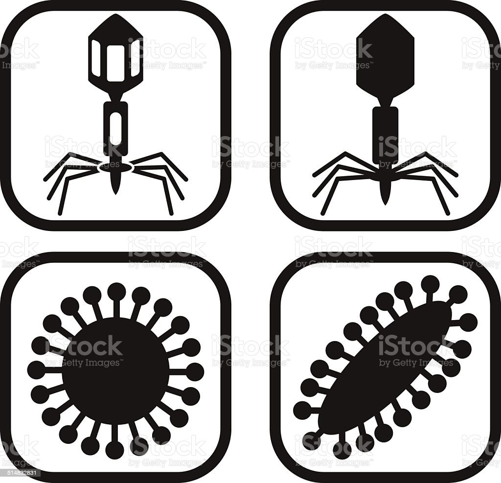 Virus icon - four variations vector art illustration