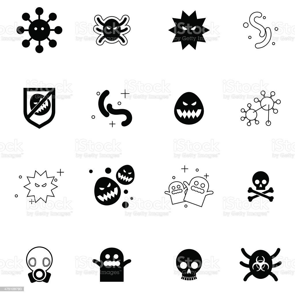 virus icons set vector illustration vector art illustration