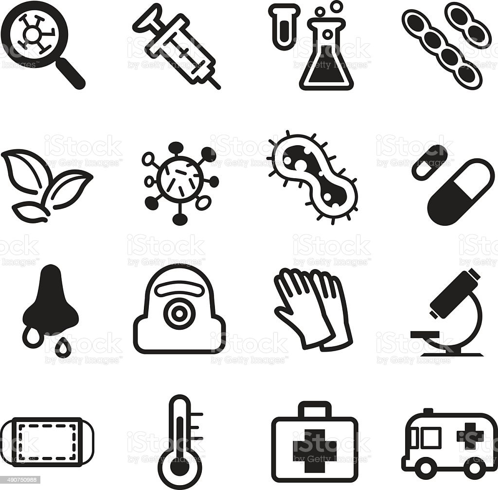 virus icons vector art illustration