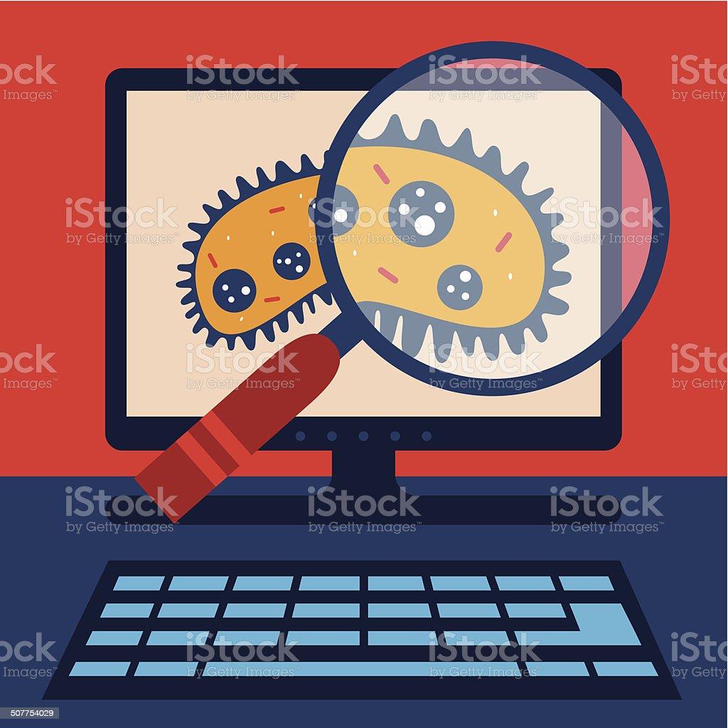 Virus Search vector art illustration