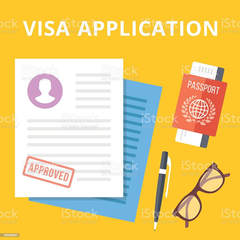 Visa application flat illustration concept. Top view vector art illustration