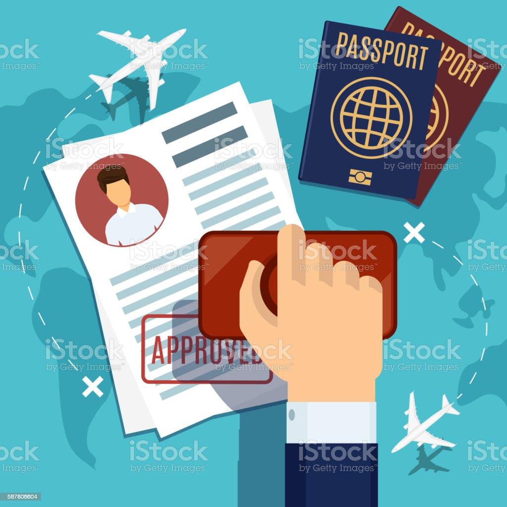 Visa stamping. Stamp on passport application vector art illustration