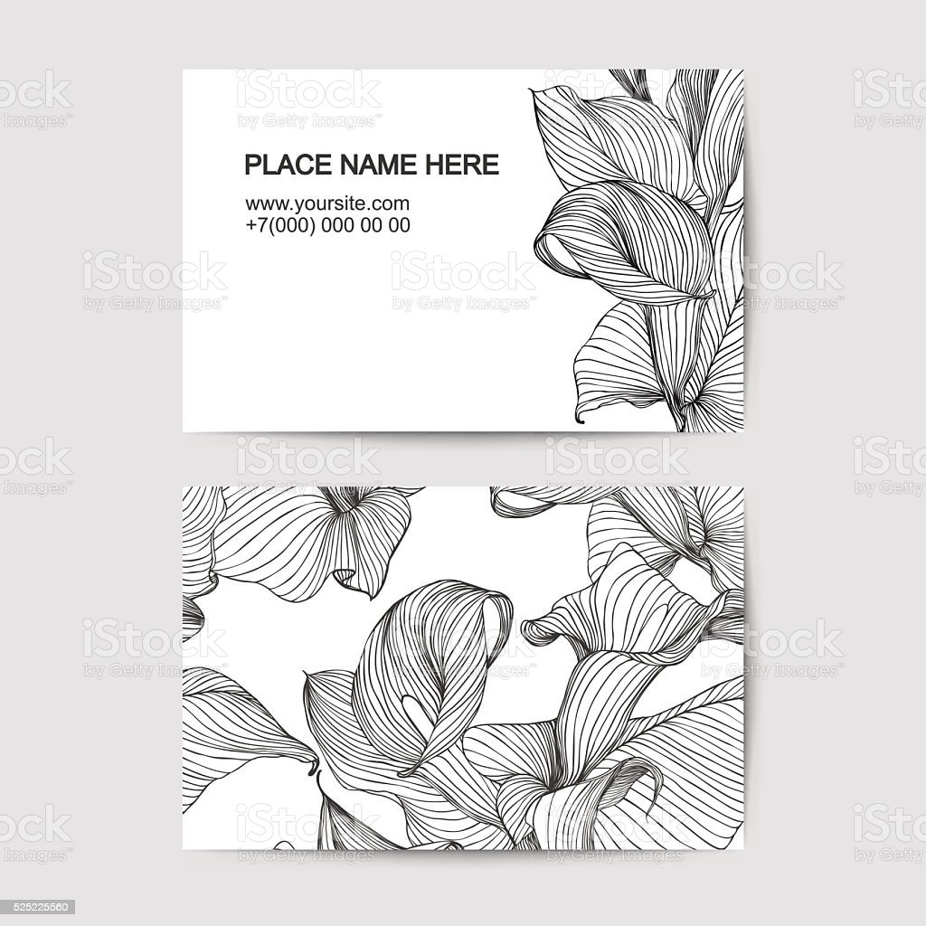 visit card template with calla lily for florist salon vector art illustration
