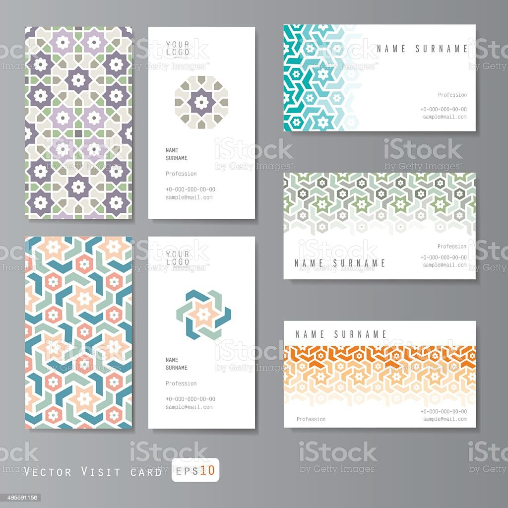 Visit cards set islamic vector art illustration