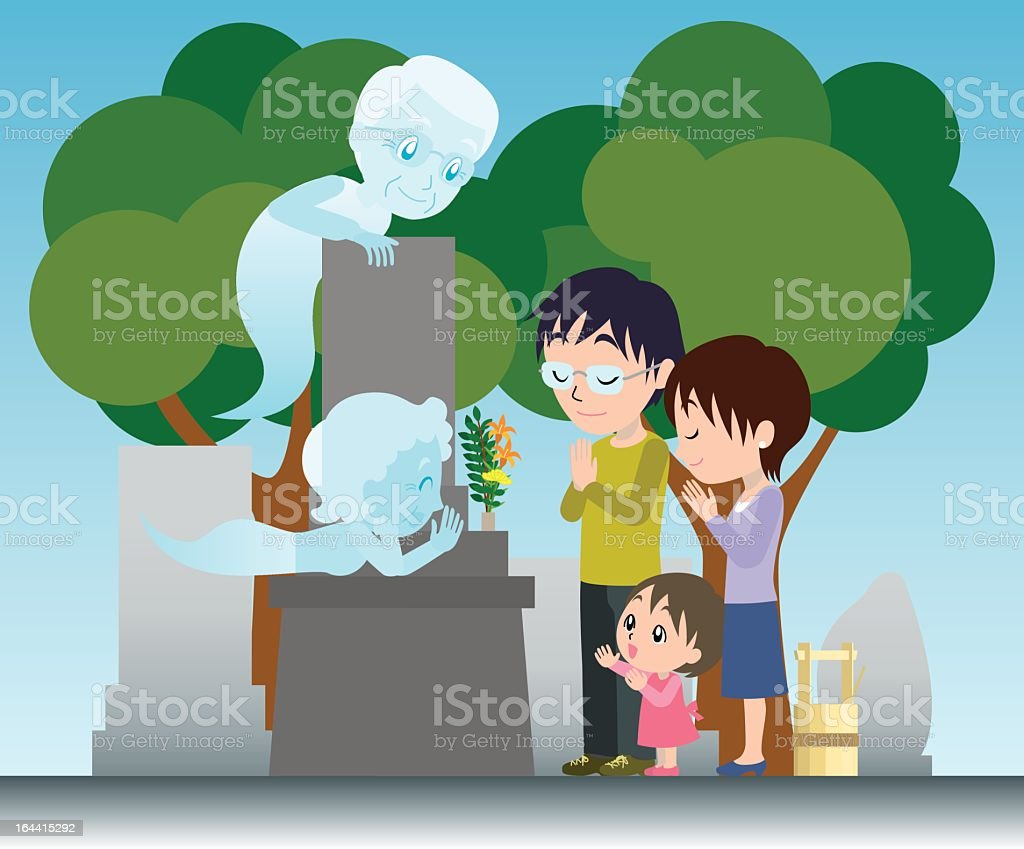 Visiting a grave royalty-free stock vector art