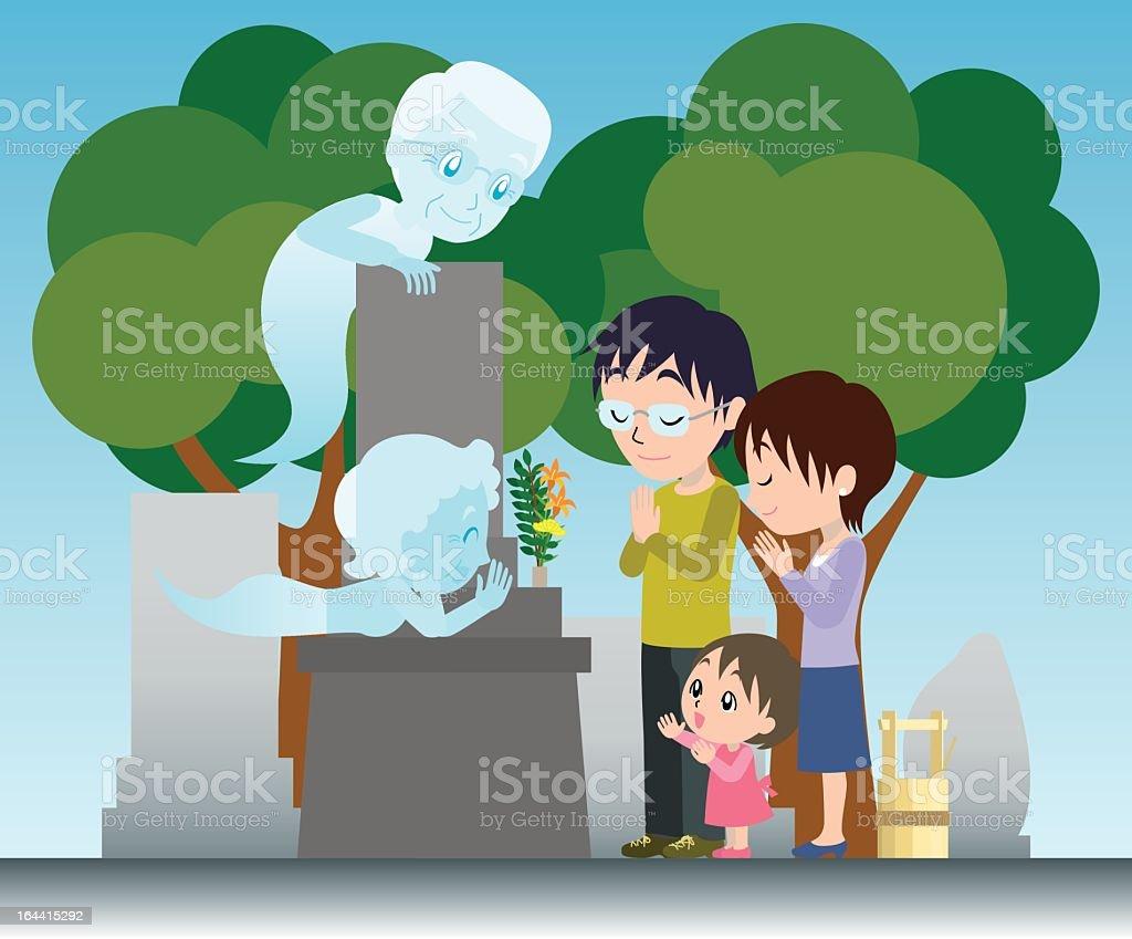 Visiting a grave vector art illustration