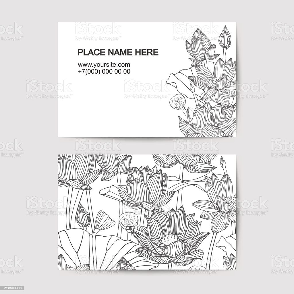 visiting card template with lotus flowers vector art illustration