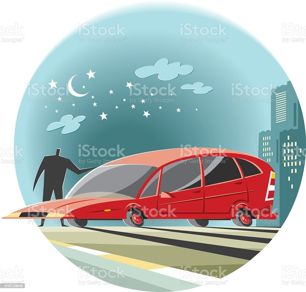 visitor at night vector art illustration