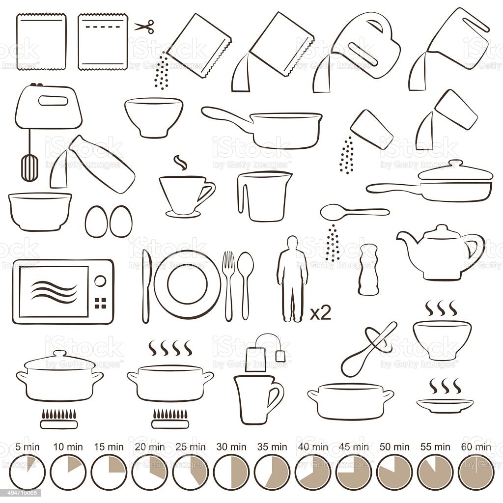 Visual manual instructions on how to cook vector art illustration