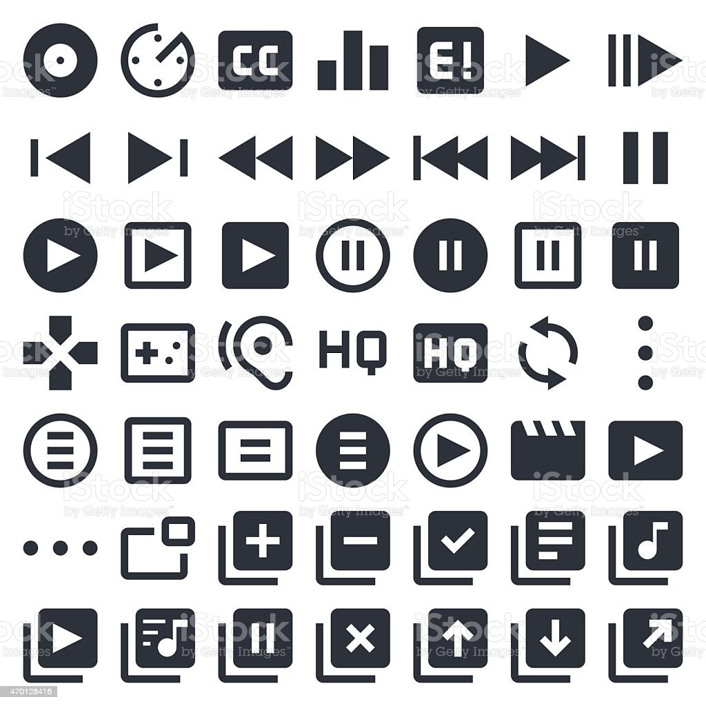 Visual Media icons set 1   49ers Series vector art illustration