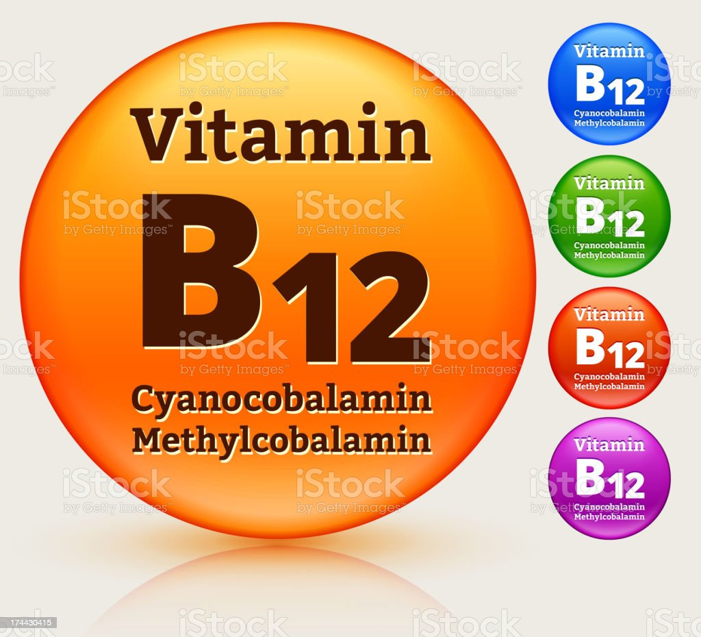Vitamin B12 Multi Colored Button Set royalty-free stock vector art