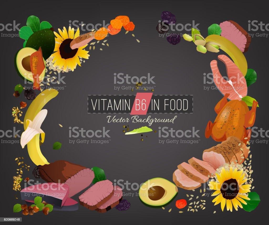 Vitamin B6 Background vector art illustration