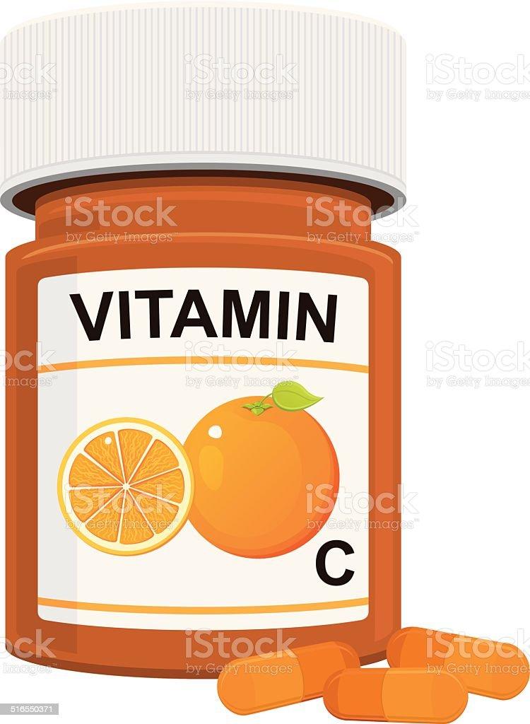 Vitamin C Bottle vector art illustration