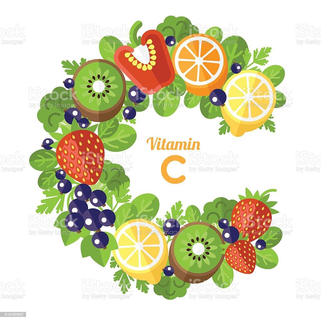Vitamin C letter vector art illustration