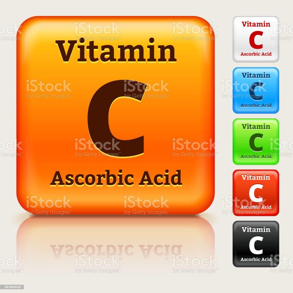 Vitamin C Multi Colored Button Set vector art illustration
